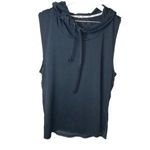 Black Workout Tank w/ hoodie Large
